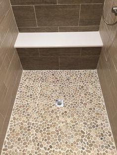 Glazed Java Tan Pebble Tile Shower Pan