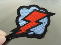Flash Patches - Iron on Patches or Sewing on Patch Flash with Cloud  Patch Red Blue Patches Embroidered Patch Lighting Bolt Embellishment