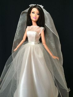 Handmade Barbie Clothes - Candlelight Wedding Gown with Crystal Nylon Veil