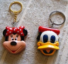 vintage disney 2 metal lighters with key chain donald and minie