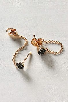 Black Diamond Chained Studs in 14k Rose Gold - anthropologie.com