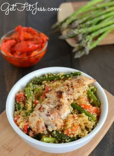 Healty Food Quinoa with Roasted Red Peppers & Asparagus topped w/ Grilled Chicken