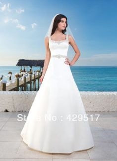 Vintage collection  Ball gown  Sexy backless  Chapel  Bride  Satin  Wedding  Dress  With  Crystal  Belt    $146.00