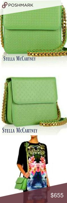 Stella McCartney Grace Green Embossed Faux Leather SOLD OUT EVERYWHERE!!! **100% Authentic Stella McCartney**  Embossed faux leather Concealable chain and whip stitched shoulder strap Gold hardware Three internal compartments, internal patch pocket Fully lined in green faux leather and black designer-stamped twill   Color: green / gold  Measures Approx.: **NEVER BEEN USED** Stella McCartney Bags Shoulder Bags
