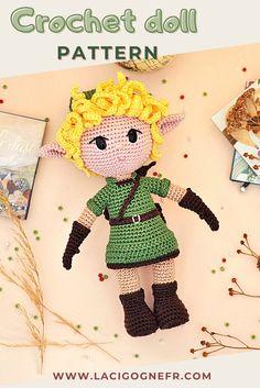 Link crochet doll pattern Inspired by video game The Legend | Etsy Crochet Amigurumi, Crochet Doll Pattern, Amigurumi Doll, Amigurumi Patterns, Crochet Toys, Crochet Patterns, Crochet Gifts, Cute Crochet, Crochet Things
