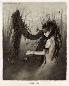 "megarah-moon: "" ""Naked Harp"" by Victoria Frances """