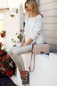 Women's fashion leopard prints flats and neutrals colors