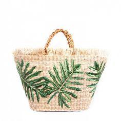 Green Palm Basket Bag by Aranaz