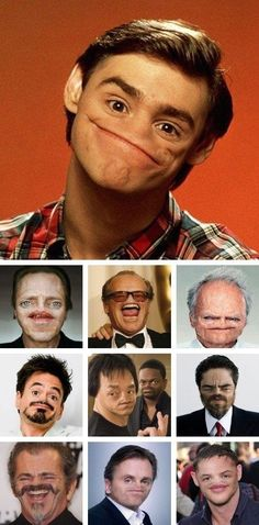 Celebrities without nose--Christopher Walken looks even creepier than usual, but Jack Nicholson & Robert Downey Jr don't look much different.