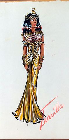 TRAVILLA Costume Sketch for Debra Paget for PRINCESS OF THE NILE.