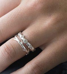 Moissanite Branch & Twig Ring Set