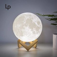 Decorative Moon Light Lamp with Time Setting and Stand 3D Print LED 16 Colors - 5 inch