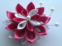 Dark Pink Hot Pink  Kanzashi Flower  Bridal by LihiniCreations