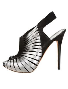 Black and Silver Caged Peep-Toe Pumps  :   Alexander McQueen