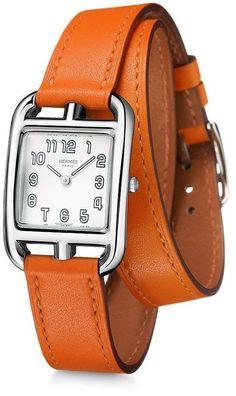 Hermes Cape Cod Silver Dial Orange Leather Ladies Watch 025690WW00