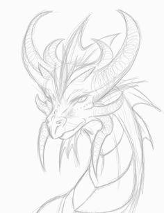 dragon head drawing - Google Search Dragon Head Drawing, A Drawing, Painting & Drawing, Dragon Drawings, Dragon Artwork, Drawing Sketches, Sketching, Dragon Anatomy, Dragon Sketch