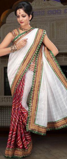 White and Maroon Bhagalpuri Silk and Crepe bandhej saree @ $46.40