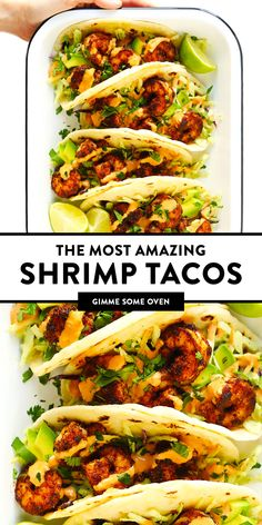 The BEST shrimp tacos recipe! Made with zesty shrimp, cilantro lime coleslaw, sliced avocado and spicy chipotle crema. Kick them up a notch with homemade flour tortillas too, if you'd like! Best Shrimp Taco Recipe, Spicy Shrimp Tacos, Shrimp Taco Recipes, Fish Recipes, Mexican Food Recipes, Dinner Recipes, Sauce Recipes, Grilled Shrimp Skewers, Grilled Fish Tacos