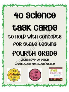 Fourth Grade Science Task Cards product from Love-to-Teach on TeachersNotebook.com