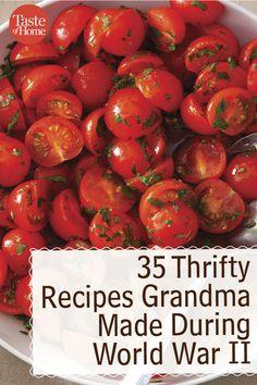 35 Thrifty Recipes Grandma Made During World War II Retro Recipes, Old Recipes, Vintage Recipes, Other Recipes, Cooking Recipes, Cooking Bacon, Budget Recipes, Cooking Fish, Cooking Games