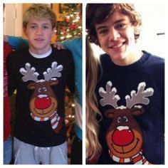 niall and harry have matching christmas jumpers.. awwwwww ♥