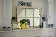 Burlap and Lace: Spring Mantle!