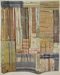 """Q = A = Q 5  Schweinfurth Museum 2014 Rosemary Hoffenberg, Winter Woods, 40 x 33""""  A small composition of blocks and skinny stripes, conjuring a forest; I believe all the fabrics were painted or screenprinted by the artist.  Lots going on in the surface design and the composition, yet the overall effect is calm."""