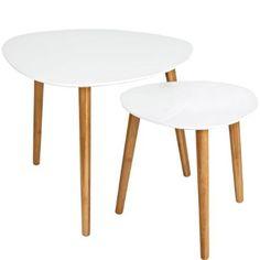 Satsbord från Åhlens i set om två. Vit högblank MDF, 48 x 60, 40x 40 cm. Väldigt stilrena och väldigt prisvärda!