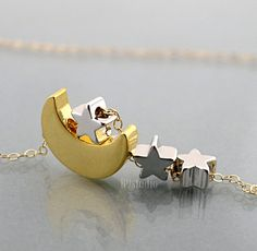Moon Star Necklace gold crescent moon tiny 3 silver by B9studio, $31.00