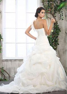 Stylish Organza Satin & Satin & Tulle Mermaid One Shoulder Neckline Dropped Waist Pleated Wedding Dress with Handmade Flower