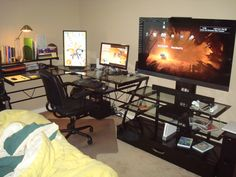 Glass desk battlestation for PC and console gaming Gaming Lounge, Computer Setup, Gaming Setup, Console Storage, Simple Desk, Home Office Setup, Gamer Room, Desk Areas, Pc Setup