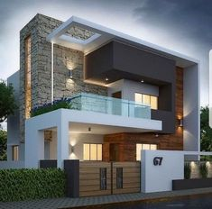 Porch Rumah Moden Beautiful Exterior by Sagar Morkhade Vdraw Architecture Bungalow House Design, House Front Design, Minimalist House Design, Modern House Design, New House Designs, Best Home Design, Kerala House Design, Modern Architecture House, Concrete Architecture