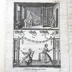 "René Bénard engraving from the 6th volume of Diderot & D'Alambert's Encyclopédie, 1786. Plate 26 ""Soierie, relevage"" 32x23cm Paris #Engravings (at Hampton Common)"