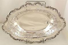 "Superb pair antique silver 10"" dishes London 1902"