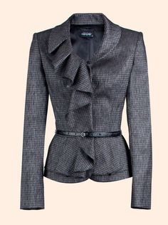Great option for Romantic type as ruffle and rounded collar with rounded edges and waist emphasis and shoulders abit tailored but it suitable for office. Fall Fashion Outfits, Blazer Fashion, Fashion Wear, Work Fashion, Womens Fashion, Blazer Jackets For Women, Jackett, Business Attire, Shirts & Tops