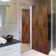 Jbk 1/2 hour rated fire door, veneered walnut flush fire door, pre-finished, safety for the home. #modernflushwalnutdoor #moderndoor #modernfiredoor