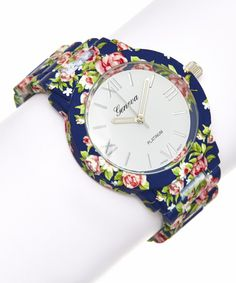 Look at this Navy Rose Flower Bracelet Watch on #zulily today!