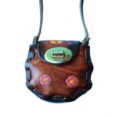 Micro Mini Mexican Leather Tooled Purse - Pink Daisy- www.shopsweetthreads.com