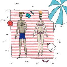 Illustration Mr & Mrs Wall Decor Holidays Seaside Print Beach Decorative Art Summer Print Colourful Print Funny Couple von paulinepolom auf Etsy