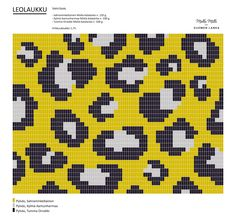 Leopard pattern, work in tr/dc. Made with Molla yarns for Suomen Lanka (looks good in black'n'white too). ^^ Check it out… Crochet Cross, Crochet Chart, Bead Crochet, Crochet Motif, Tapestry Crochet Patterns, Crochet Stitches Patterns, Knitting Patterns, Stitch Patterns, Motif Leopard