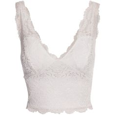 Nly One Sheer Scallop Lace Top ($25) ❤ liked on Polyvore featuring tops, sheer lace top, white short top, scalloped top, white top and transparent tops