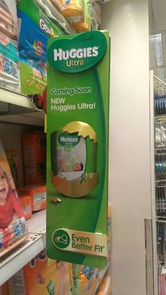 Coming Soon: New Huggies Ultra Shelf Banner Pos Display, Counter Display, Display Design, Pos Design, Stand Design, Retail Design, Merchandising Displays, Store Displays, Stop Rayon