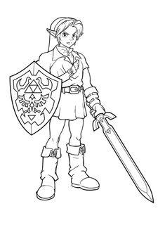 link coloring pages zelda   Free Printable Zelda Coloring Pages For Kids