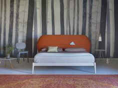 Double bed with upholstered headboard SHIKO POCKET by Miniforms design E-ggs