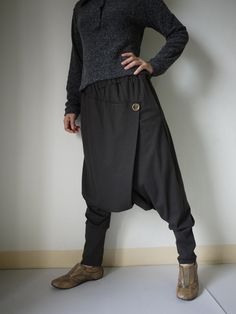 Women Men Pants Drop Crotch Dark Charcoal door beyondclothing