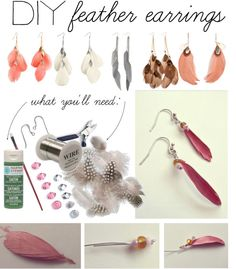 """""""DIY: Feather Earrings"""" by polyvore-editorial on Polyvore"""