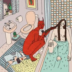 London-based illustrator Polly Nor takes a cynical crack at humanity with the dark humor in her illustrations. Her scenes are peppered with devils, de...