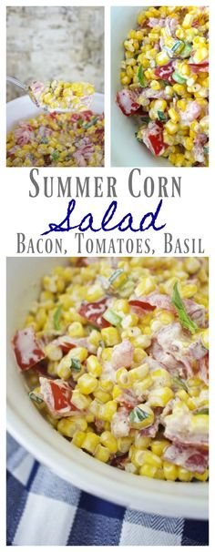 Summer Corn Salad – Perfectly Delicious. Basil, bacon, tomatoes, corn. farmers market salad. fresh vegetable salad. Potluck salad. picnic dish.