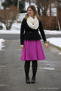Peplum and a silk skirt with an infinity scarf
