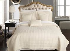 California King Ivory Luxury Microfiber Checkered Quilt and Shams by Royal Hotel